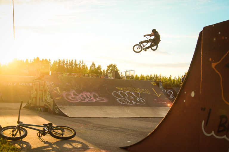 a local bmxer at Savela Skatepark Helsinki Finland